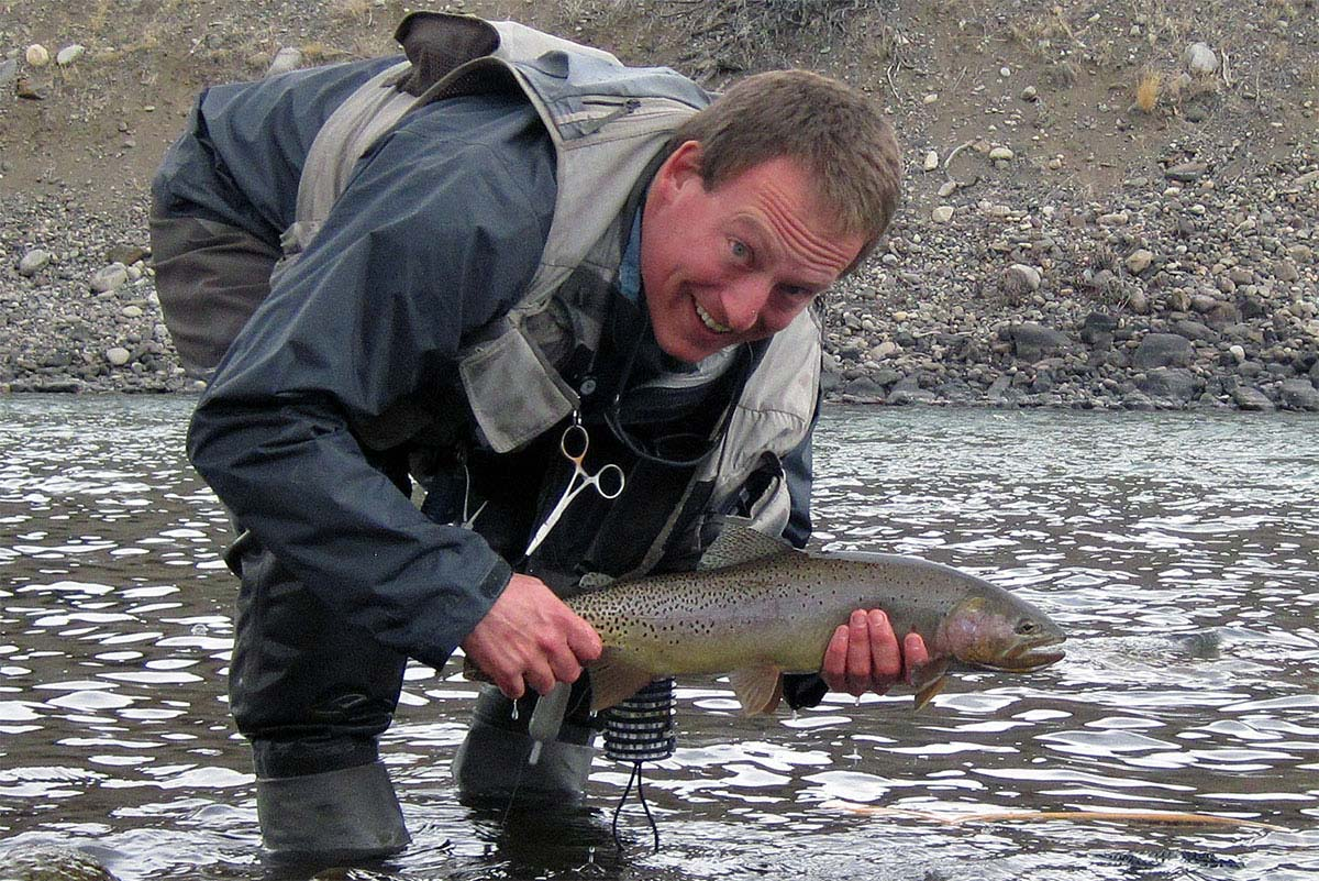 The author of this site with a huge early March rainbow/cutthroat hybrid on the Yellowstone River